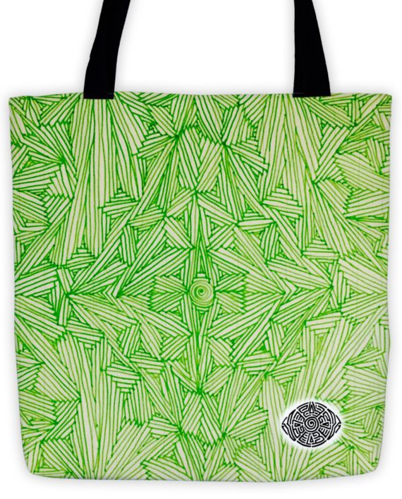 Luminous Lime Scribble Tote by: Eyes of Beijing