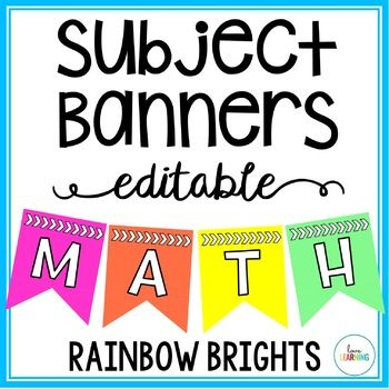 These rainbow bright editable pennant banners are a perfect way to display various locations in your classroom or bulletin boards! Available in TWO different sizes: Small: ~ 3 x 4 inchesMedium: ~ 4.5 x 6 inchesThe banners include the following subjects, but I have included an editable version (in PowerPoint) that you can use to create your own:   Math  Reading  Writing  Language Arts  Science  Social Studies  History   Art  Music  Technology  STEM  STEAM  Birthdays  Calendar  Word Wall To…