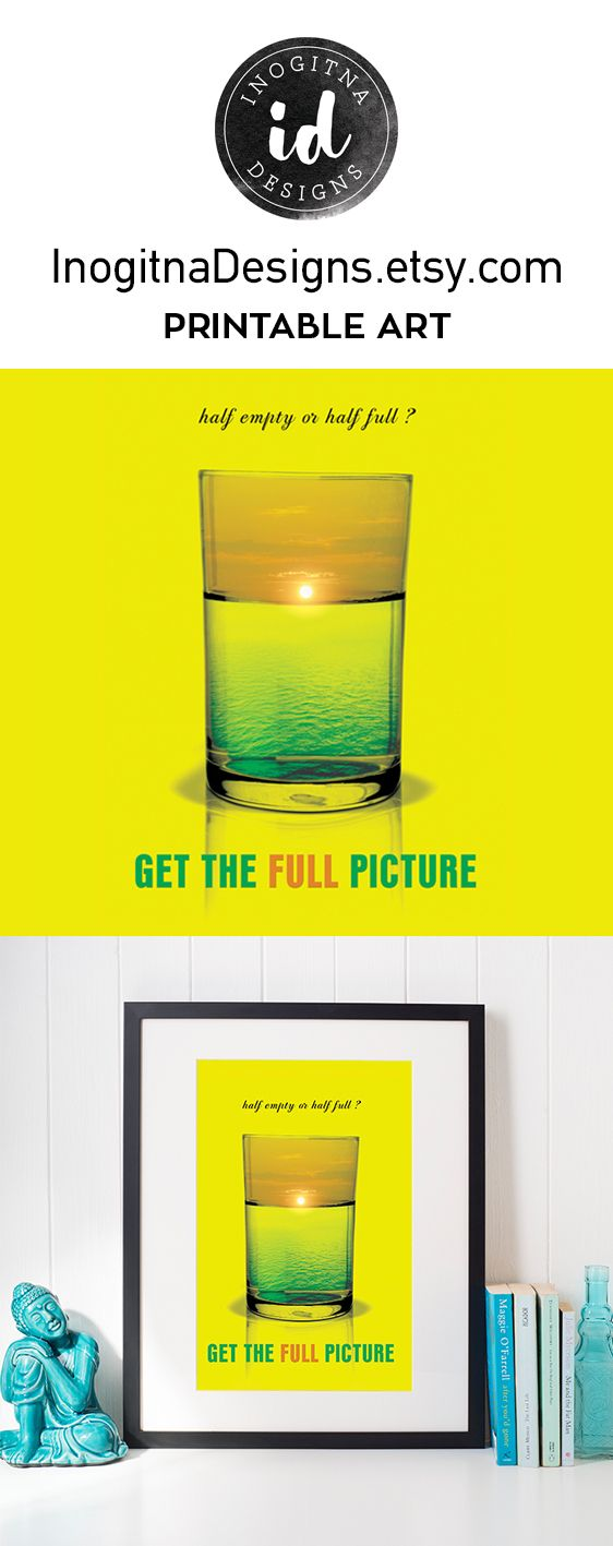 Printable art by InogitnaDesigns. What do you think, is the glass half full or half empty? Get the full picture with this cool poster, a bright yellow large poster with surrealism art. A positive quote is always encouraging and we all need vibes of optimism. This glass wall art is here to remind us that we could try and see the bright side. Use the sunrise sunset print for your walls, print it on a t-shirt, a mug, make a card, a gift and so many more. Glass Wall Art/Sunrise Sunset/Positive…