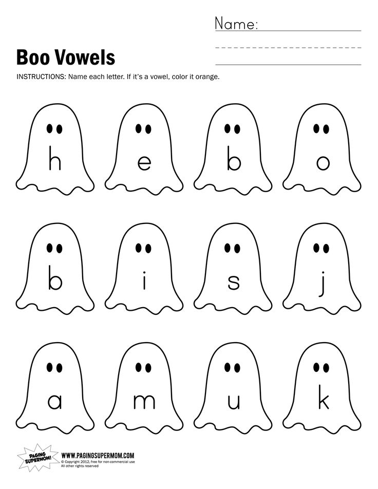 Boo Vowels Worksheet | Paging Supermom | Halloween ...