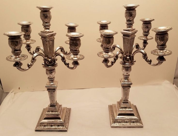 Pair of Dutch Sterling Silver Candelabra