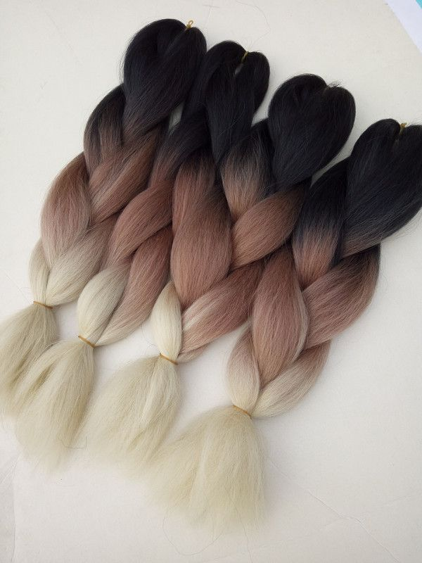 black/brown/blonde ombre color synthetic jumbo braids hair extensions