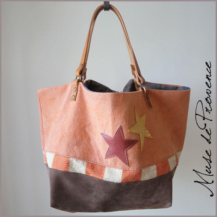 sac-cabas-création-cuir-brun-et-toile-orange-2.jpg (800×800)