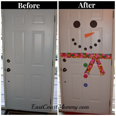 Snowman Door... simple DIY Home Decor Project that the kids will love helping to create