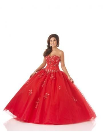 robe de mariée princesse ornée de cristal rouge chic