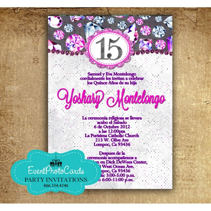 Purple Fuchsia Quinceanera Invitations In Spanish