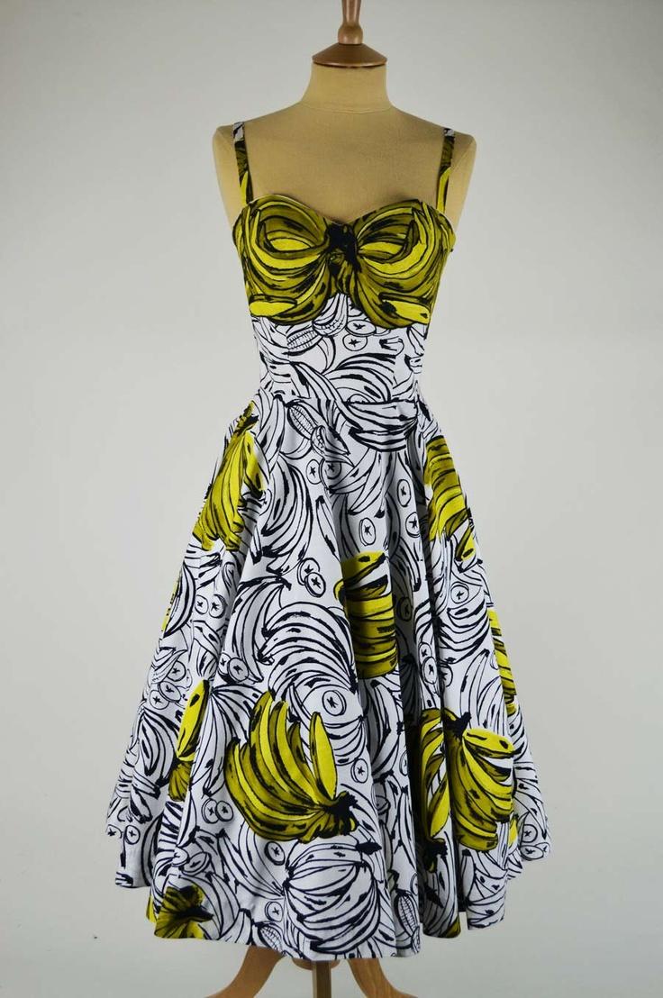 Amazing banana print dress by Horrockses Fashions - repin via MelaMela