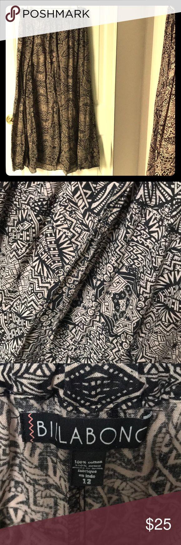 Billabong Skirt Billabong Skirt , size 12, bought in Singapore, super comfortable, cotton, breezy, maxi skirt! Love for summer and hot weather! Stretch on top... Billabong Skirts Maxi