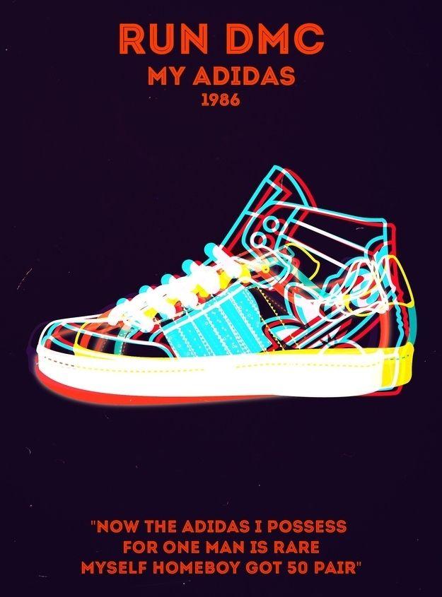 19 Perfect Minimalist Rap Posters: Run-D.M.C, My Adidas
