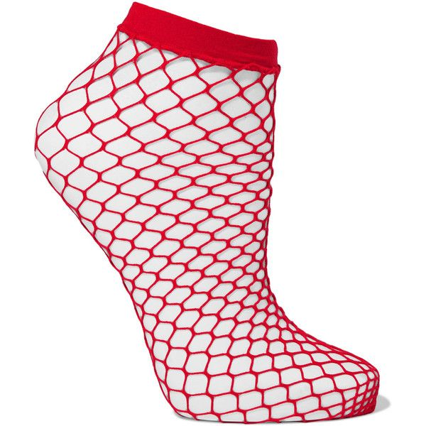 Falke Fishnet socks ($13) ❤ liked on Polyvore featuring intimates, hosiery, socks, red, fishnet hosiery, diamond pattern socks, falke, falke socks and red socks