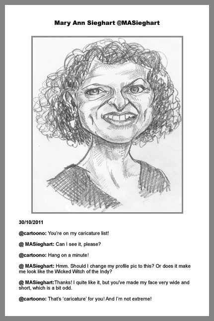 Caricature from photo of journalist Mary Ann Sieghart for TwitterCelebCarix
