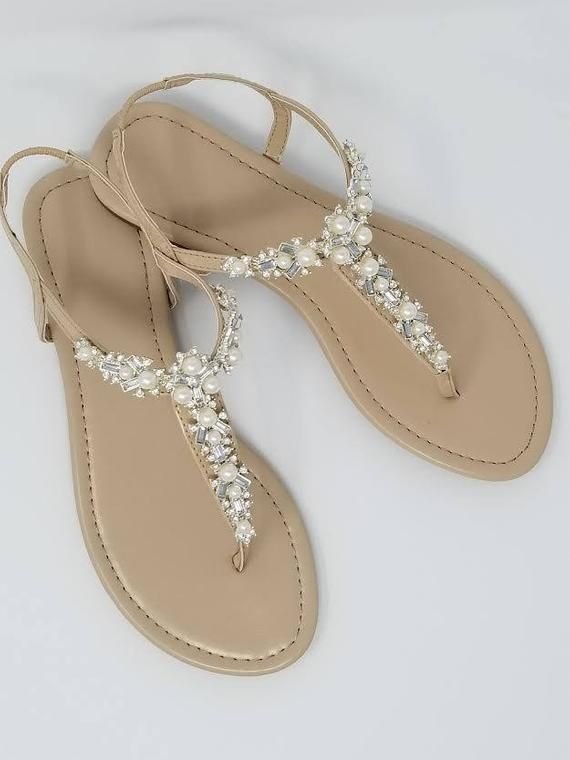 aeb5b8f159ef1 Ivory Wedding Sandals with Pearls and Crystals Ivory Bridal Sandals ...