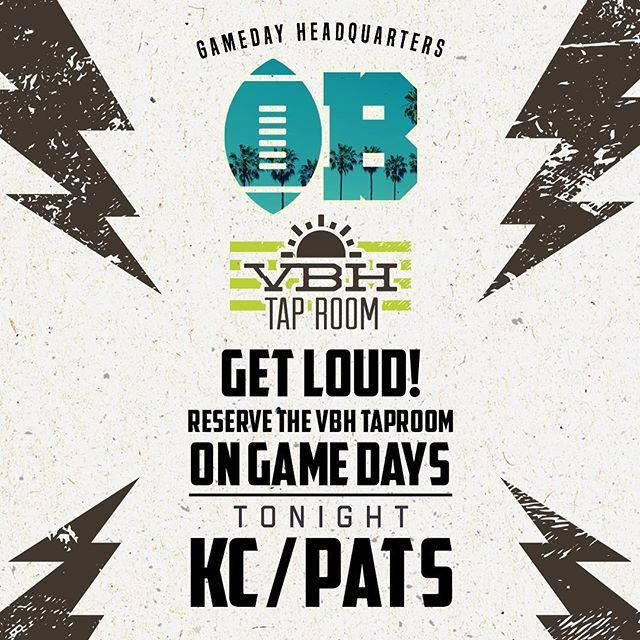 GET LOUD OB! Football is back... tonight we're kicking Thursday Night Football with a #PatriostNation party in the VBH Tap Room with Bryan - good eats, drinks specials and more! . . . . . . . . . #happyhour #eats #sdbeer #sdliving #oceanbeachsd #oceanbeachsandiego #nfl #nfl #nflgameday #kc #patriots #tnf #cheifsvspatriots #sandiego #sandiegoeats #sandiegobeer #eats #drinks #summer #thursdaynightfootball #industrysd #sandiegohappyhour #cheers #letsdrinks #fun #beachday #beachbar #sandiego…