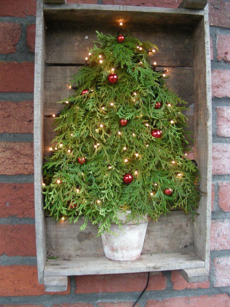 Leuk een oude groentekist naast je buitendeur hangen. Zo kan je deze elke keer met een seizoenswisseling aankleden.