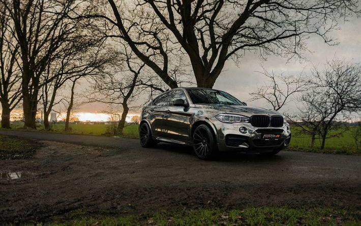 Download wallpapers Fostla, tuning, 4k, BMW X6 M50d, 2018 cars, F16, BMW X6M, tunned X6M, BMW X6, SUVs, german cars, BMW