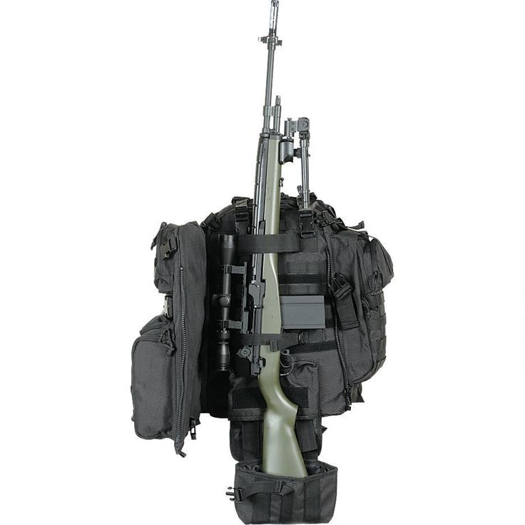 Voodoo Tactical Praetorian Rifle Pack with adjustable padded shoulder straps, multiple pockets for tons of gear, universal webbing, hydration-compatible, straps to secure rifle, padded laptop pocket. Double-stitched and bar tacked. You won't need another pack after getting this one.