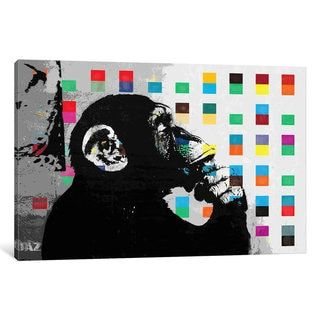 iCanvas The Thinker Monkey Dots Close Up by Banksy Canvas Print