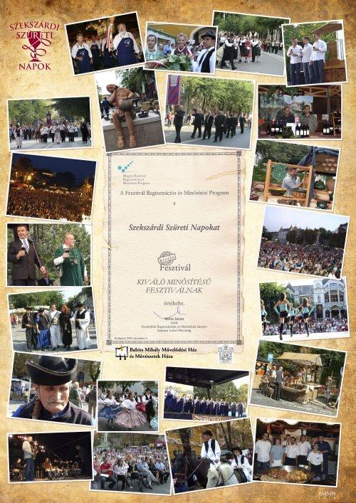Szekszárdi Szüreti Napok 2012. szeptember 20-23. A Szekszárdi Szüreti Napok az év legnagyobb eseménye, igazi összművészeti fesztivál.  Minden évben szeptember harmadik hétvégéjén zajlik. A szüretelés hagyományát megőrizve, értékként a bor és kultúra nemes kapcsolatát ápolva rendezzük meg a fesztivált.  Négy napon át igényes programokkal, kiállításokkal, koncertekkel, borkóstolóval, a tájegységre jellemző ételkínálattal várjuk a városunkba látogató vendégeket.