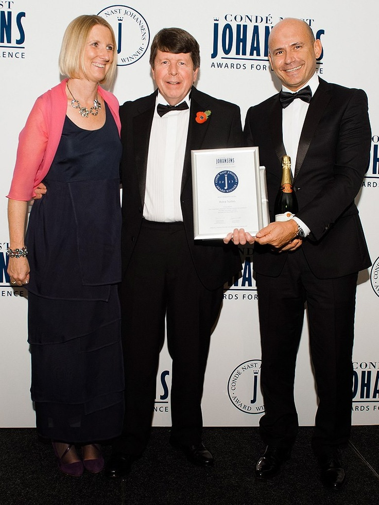 Astra Suites' general manager, George Karayiannis, receiving the award of Most Romantic Hotel in the world for Astra Suites at the Condé Nast Johansens 2013 Awards For Excellence at The May Fair Hotel in London.