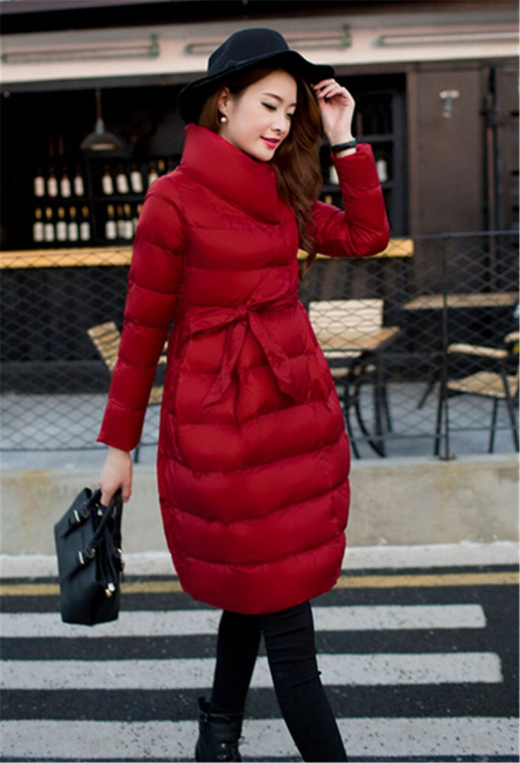 2015 Fashion New Women Brand Design Solid Color Winter Jacket Long Thicken Warm Parkas Waisted Stand Collar Outwear with Sashes-in Down & Parkas from Women's Clothing & Accessories on Aliexpress.com | Alibaba Group US $54