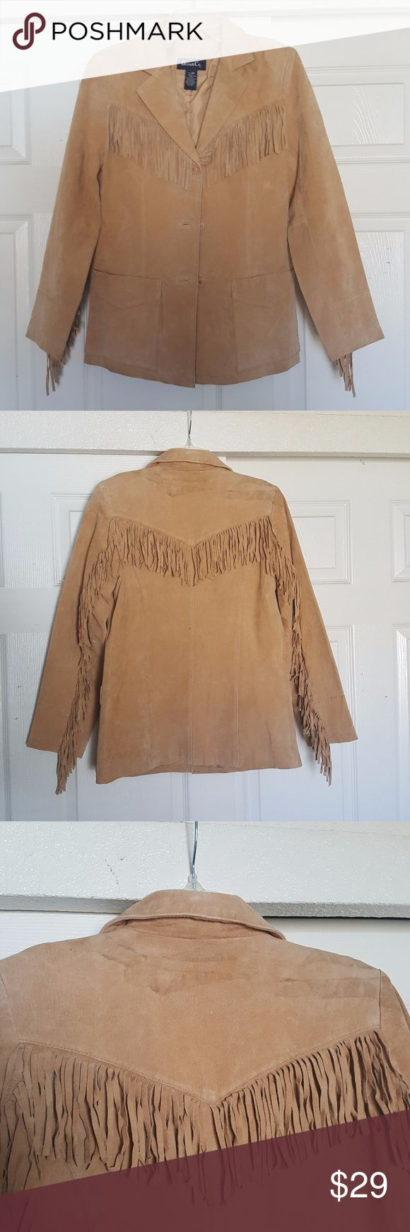 Denim & Co. Barn Fringed Leather Western Jacket Denim & Co. Leather Western Jacket, fringe detailing lends southwestern flair to the front yoke, back yoke, and back of each sleeve. Shell 100% leather; lining 100% polyester, Machine wash, tumble dry. Discoloration on upper back side below collar, shown in picture. Denim & Co. Jackets & Coats Blazers