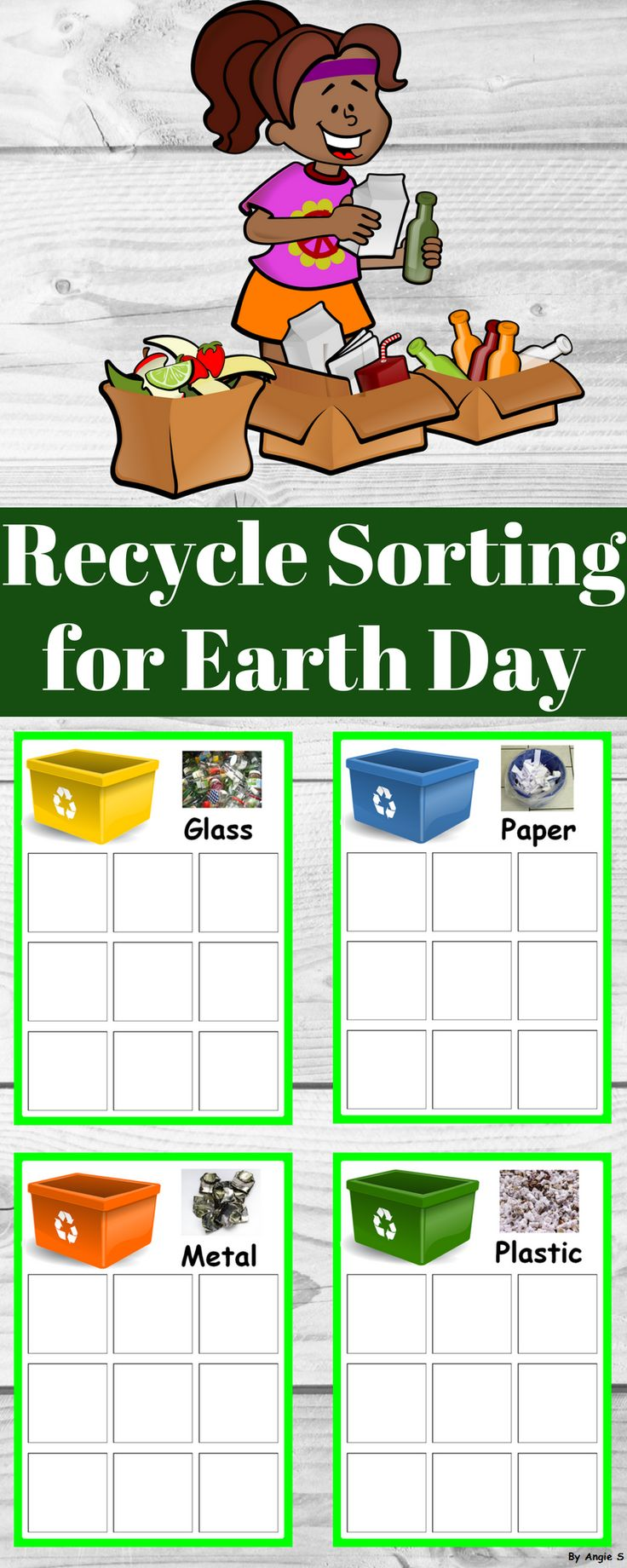 Earth Day Activity - Recycle Sorting for Special Education, kindergarten and preschool students. #earthday #spring #springresources #earthdayresources #recycle #recycling #autism #sped #slp #tpt #teacherspayteachers For more resources follow https://www.pinterest.com/angelajuvic/autism-and-special-education-resources-angie-s-tpt/