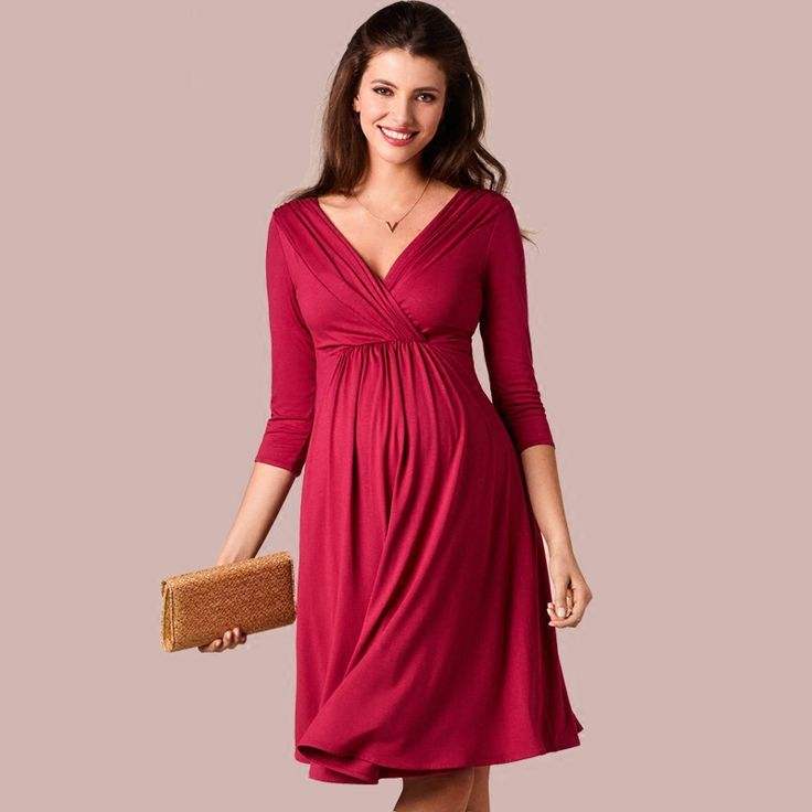 ==> [Free Shipping] Buy Best Hot Brand European American Fashion Pregnant Womens Dress Long Sleeved V Neck New Summer Maternity Dresses For Pregnancy Clothes Online with LOWEST Price | 32798350824