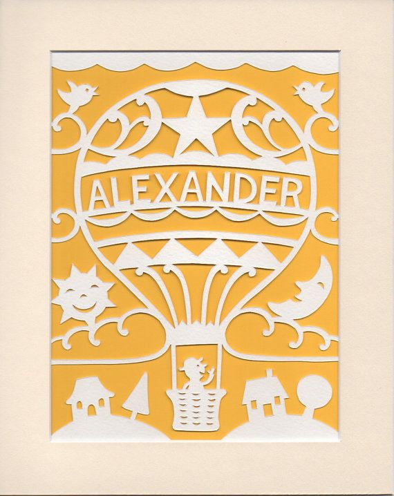 Nursery Art - Personalised Hot Air Balloon Papercut - Baby Gift -  Alexander or Name of Your Choice