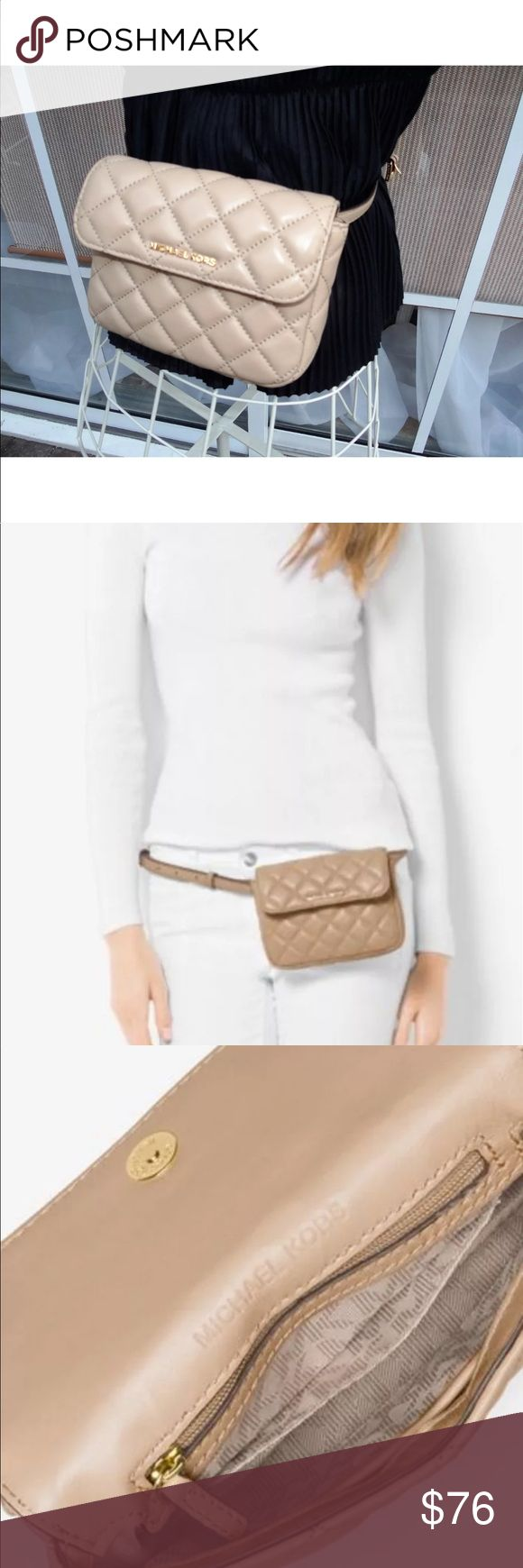 """Sloan Small Quilted Belt Bag Fanny Pack in Bisque Michael Kors Sloan SMALL Belt Bag quilted Leather Bisque/Gold Msrp 158.00 ( beige/tan family)  100% authentic Guaranteed - Not a good fit for the plus sized smartphones  Small sized bag; 7""""W x 5""""H x 1""""D Interior features signature lining, 1 zip pocket and 1 slip pocket 31-1/2""""L to 41""""L adjustable belt strap Snap closure Exterior features shiny gold-tone hardware, logo and quilting Quilted Leather - Dustbag included Michael Kors Bags Mini Bags"""