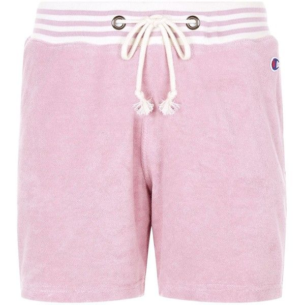 Champion Terry Cotton Lounge Shorts ($70) ❤ liked on Polyvore featuring activewear, activewear shorts, champion activewear, cotton activewear, champion sportswear, pink sportswear and pink activewear
