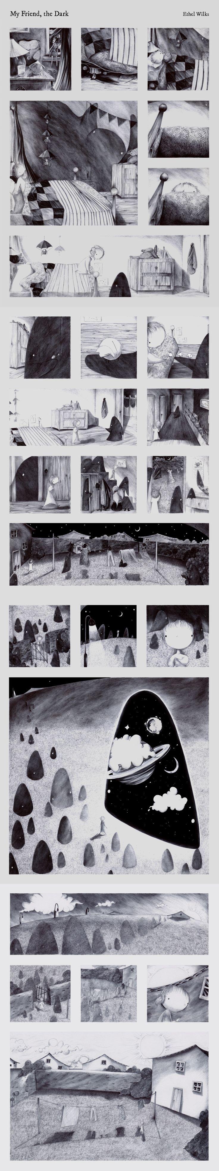 'My Friend, the Dark' by Ethel Wilks  www.facebook.com/ethelwilks   #art #illustration #graphicnovel #comic #indiecomic #indiegraphicnovel #silentgraphicnovel #biro #shortstory #ink #wordlesscomic