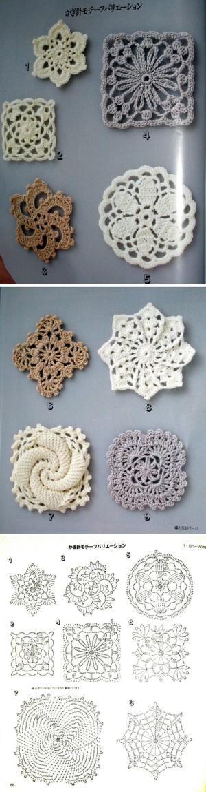 Lacy floral motifs #crochet by Elsa Baez