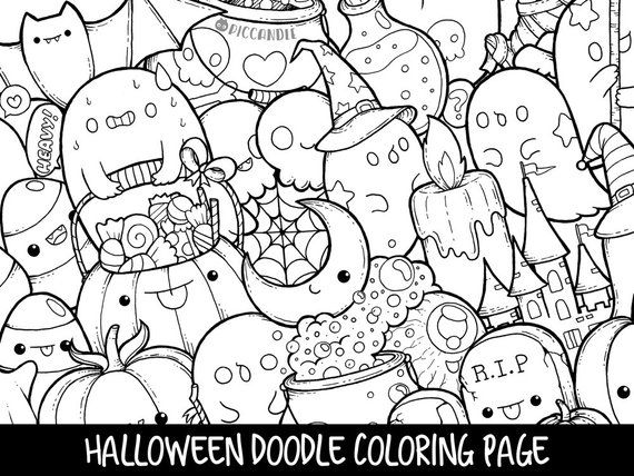 Halloween Doodle Coloring Page Printable Cute Kawaii Coloring Page For Kids And Adults Tekenen