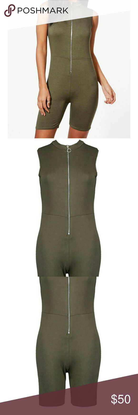 Olive green zip body suit shorts new size 10/med New olive green zip up shorts body suit, very soft & lovely to wear feel. Poly/elastine. Size 10 I have this & love it! I wear mine under my see through tattoo dresses so i can be comfortable & looks great alone or undeneath! * I have this in black also. See other listing.  Price firm No trades , boutique style. Intimates & Sleepwear Shapewear