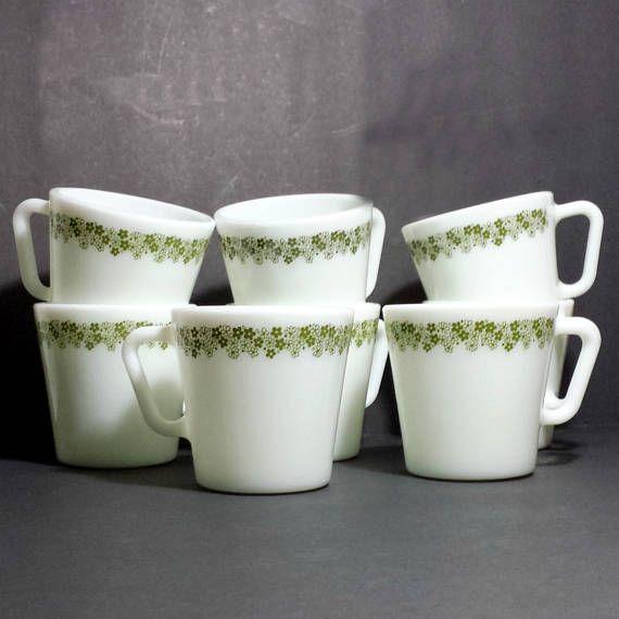 Pyrex Spring Blossom Green Mugs Set of 8 / 1970s Pyrex Mugs