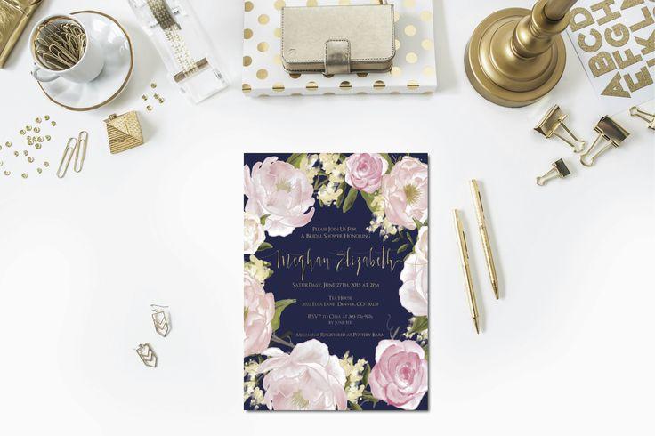 Navy + Gold + Blush Bridal Shower Invitation