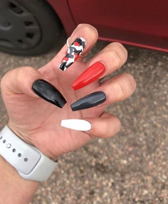 Red White And Black Mix Match Nails Red Black Nails White Acrylic Nails Black Acrylic Nails