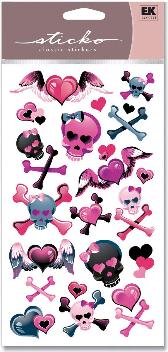 Sticko Classic Stickers - Girly Girl Skulls Metallic
