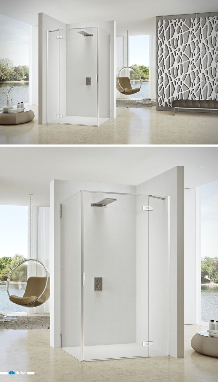 pura 5000 • this shower enclosure is a great solution for large and contemporary bathrooms. The swing door offers a comfortable width of entrance in every situation. The additional fix panel adds a feeling of stability to the otherwise seemingly weightless glass door.