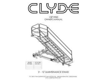 Clyde Machines 15F1900 Maintenance Platform Manual