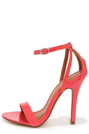 Pretty Coral Heels - Single Strap Heels - Ankle Strap Heels - $30.00