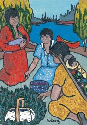 Picking Berries - a painting by Ojibwa artist Nokomis available as a card or print from Native Art in Canada.