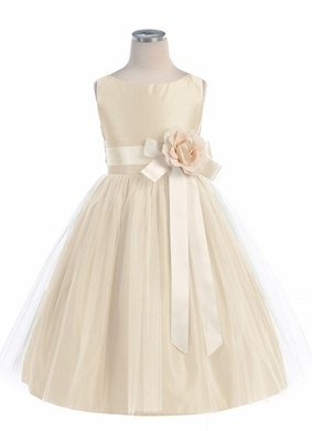 Champagne Vintage Satin Tulle Dress Style: Sleeveless satin bodice  Removable flower w/ ribbons at waist ( Color shades & style may vary )  Satin skirt w/ ...