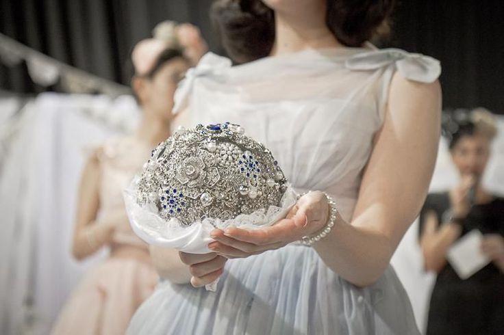 Silver and blue brooch bouquet Gallery - button wedding bouquets, custom & bespoke wedding bouquets, vintage wedding bouquets, themed wedding bouquets, unique centrepieces, buttonholes, sydney australia