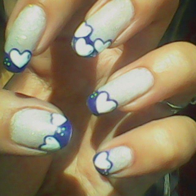 #FrenchNails #HeartNails #BlueNails