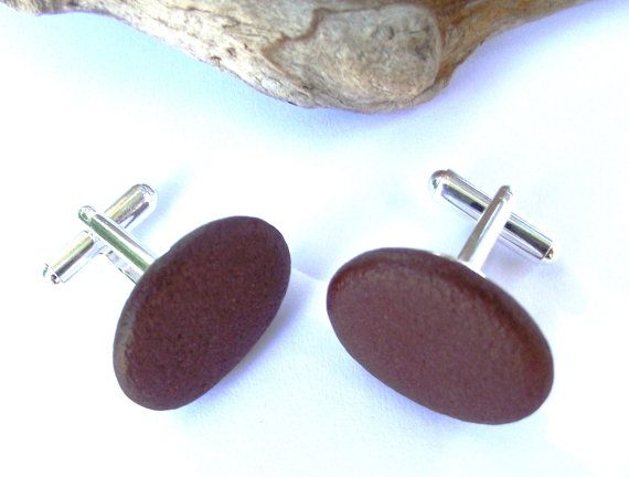 Beach rock cuff links. Eco friendly jewelry. Smooth by oceangifts
