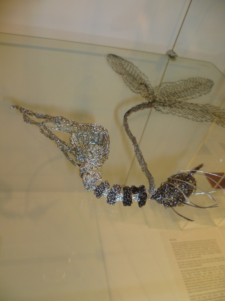 Hand Knit wire bird skeleton by Helen Robertson