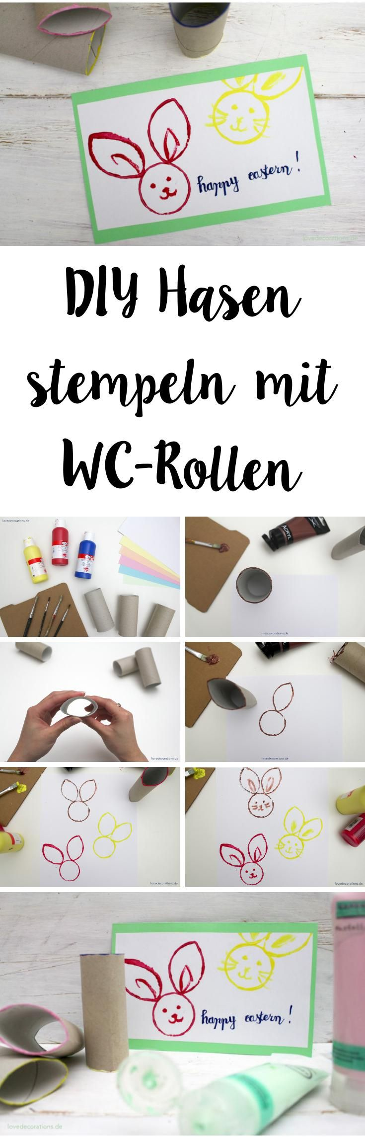 DIY stamped Bunny with WC-Rolls | DIY Hasen stempeln mit WC-Rollen