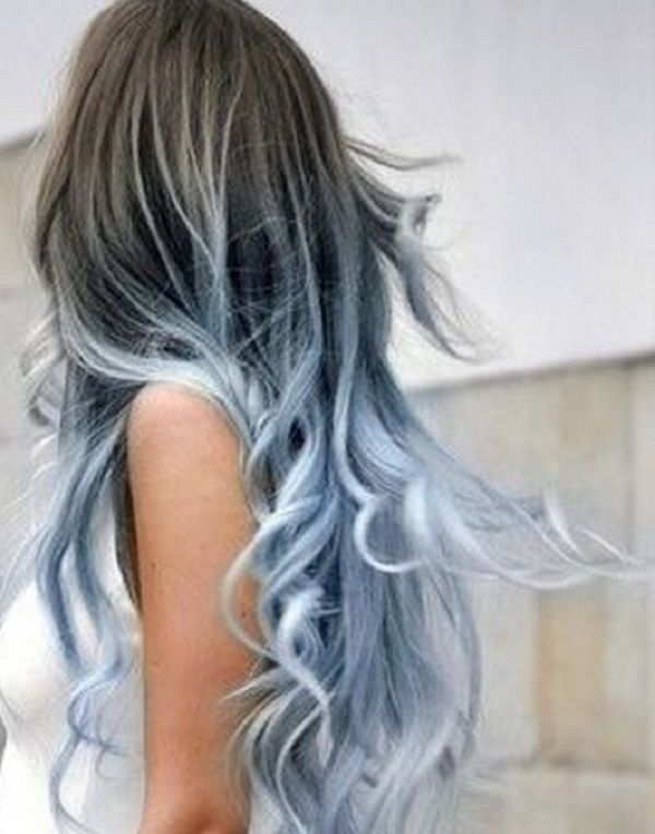 Copper to platinum ombre. A rather cool colored hair color combination as it gives the illusion of your hair being dipped in a snow blizzard.