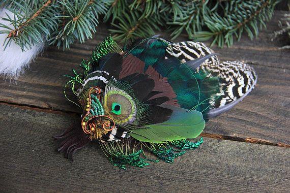 Green Feather Hair Clip Hair Clip Green Hair Clip Peacock Hair